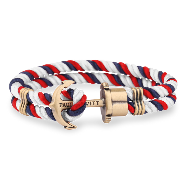Paul Hewitt-Anchor PHREP Brass Navy Blue-Red-White-Jewellery-THE UNIT STORE