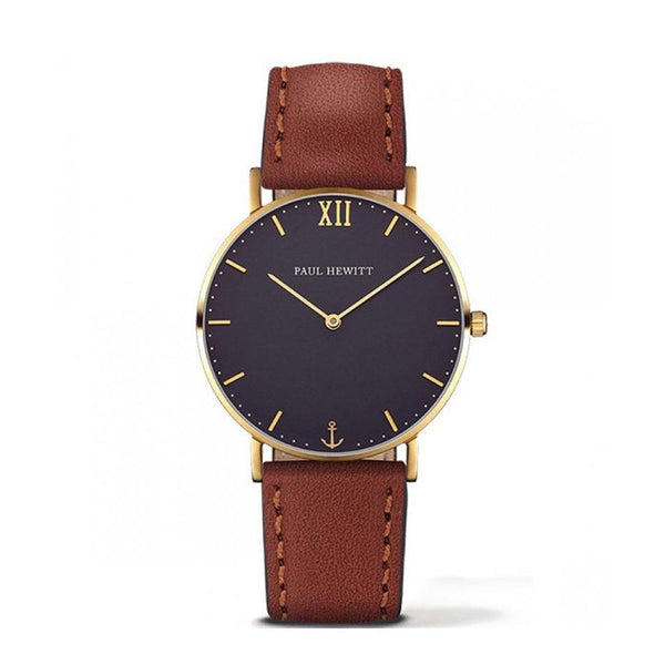 Paul Hewitt-Sailor Line Blue/Gold/Brown Leather/36mm-Watch-PH-SA-G-SM-B-1S-THE UNIT STORE