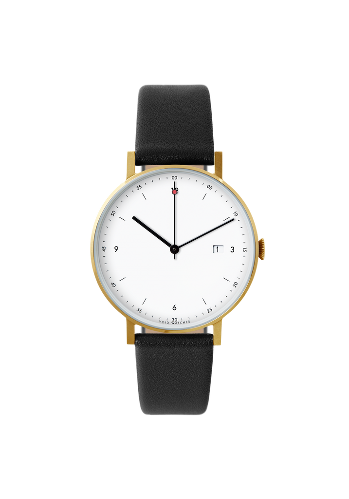 Void-Analogue Date Gold Black leather strap & White dial-Watch-PKG01 GO BL WH-THE UNIT STORE