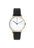 Analogue Date Gold Black leather strap & White dial