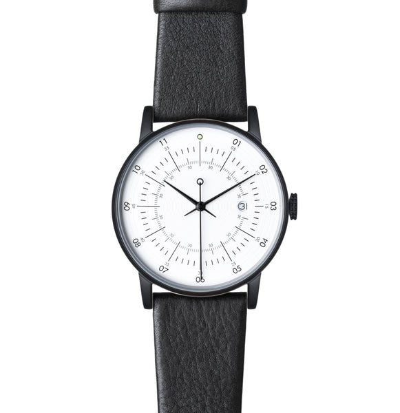 Squarestreet-Matt Black Stainless Steel w/ Eggshell White Dial and Black Reindeer Leather Strap-Watch-SQ38 PS-10-THE UNIT STORE
