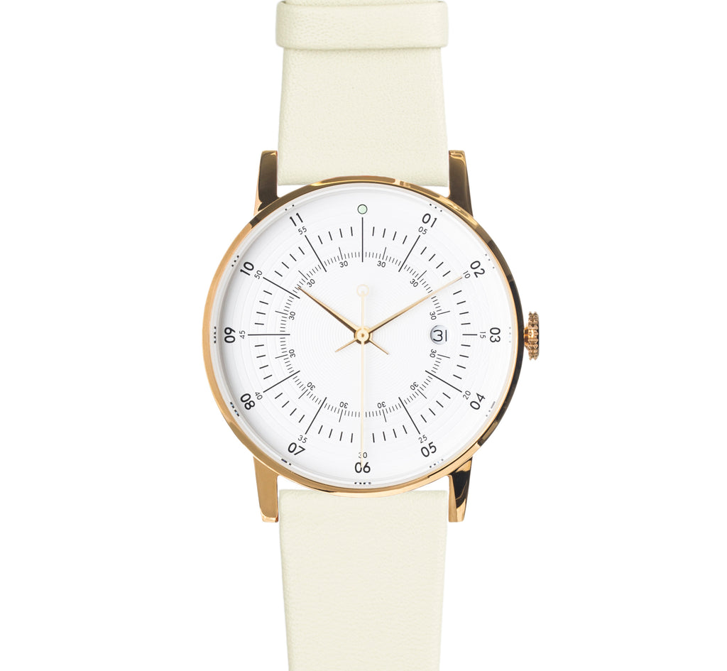 Squarestreet-Polished Gold Stainless Steel w/ Eggshell White Dial and Mint Leather Strap-Watch-SQ38 PS-20-THE UNIT STORE
