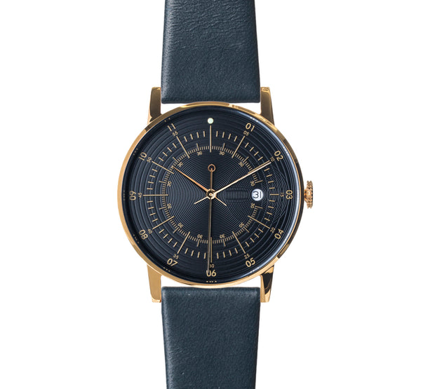 Squarestreet Polished Gold Stainless Steel w/ Black Dial and Navy Cow Leather Strap SQ38 PS-31