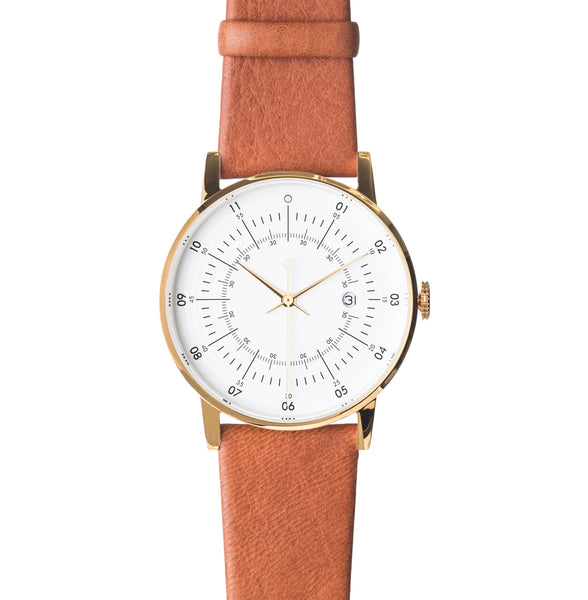 Squarestreet Polished Gold Stainless Steel w/ Eggshell White Dial and Brown Reindeer Leather Strap SQ38 PS-33