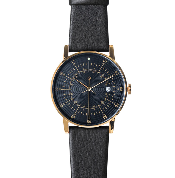 Squarestreet-Polished Gold Stainless Steel w/ Black Dial and Black Reindeer Leather Strap-Watch-SQ38 PS-36-THE UNIT STORE