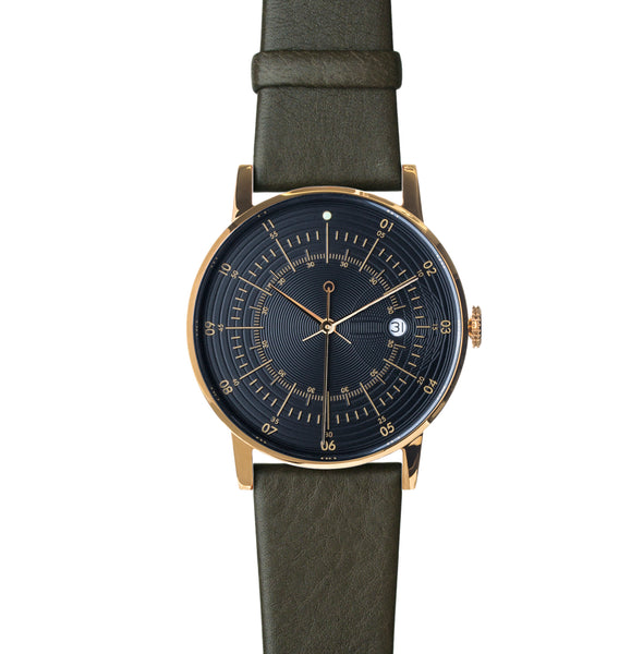 Polished Gold Stainless Steel w/ Black Dial and Army Reindeer Leather Strap