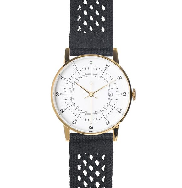 Squarestreet-Gold Eggshell White Dial Black SUPLON Strap-Watch-SQ38 PS-45-THE UNIT STORE