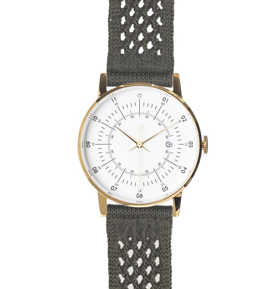 Squarestreet-Gold Eggshell White Dial Army SUPLON Strap-Watch-SQ38 PS-46-THE UNIT STORE