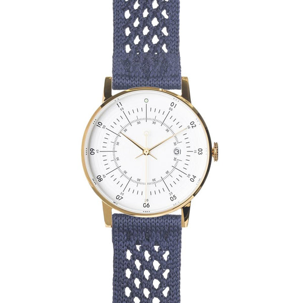 Squarestreet-Gold Eggshell White Dial Navy SUPLON Strap-Watch-SQ38 PS-48-THE UNIT STORE