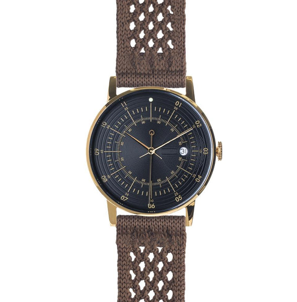Gold Black Dial Chocolate SUPLON Strap