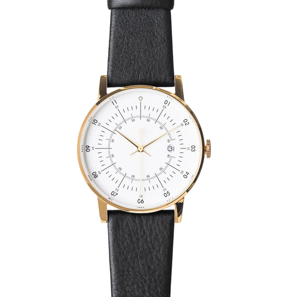 Polished Gold Stainless Steel w/ Eggshell White Dial and Black Reindeer Leather Strap