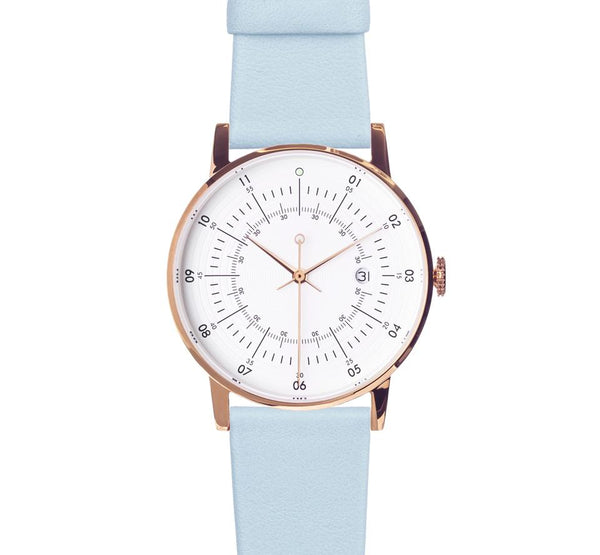 Rose Gold Offwhite Dial Pale Blue Strap