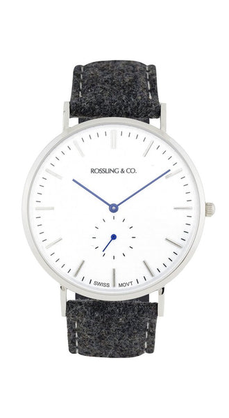 Rossling & Co.-Classic 40mm Silver White Dark Grey Tweed-Watch-RO-001-001-THE UNIT STORE