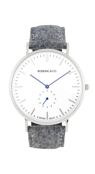 Rossling & Co.-Classic 40mm Silver White Light Grey Tweed-Watch-RO-001-002-THE UNIT STORE
