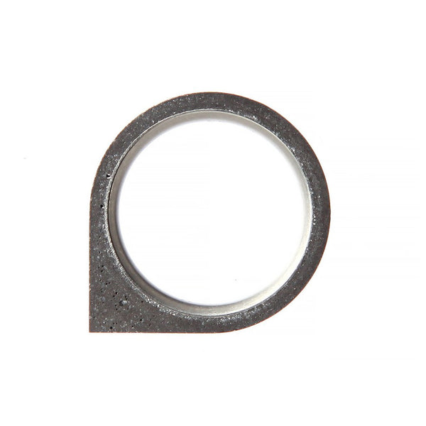 22 Design Studio-Corner Concrete Ring Thin Dark Grey Concrete-Jewellery-THE UNIT STORE