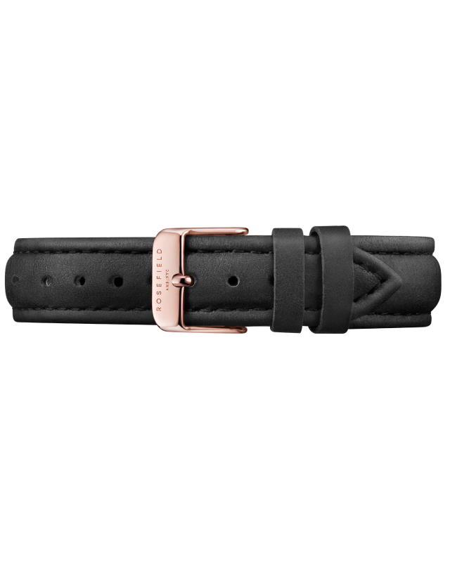Rosefield Black Leather Bowery Strap Rose Gold RF-SBLRC-S100