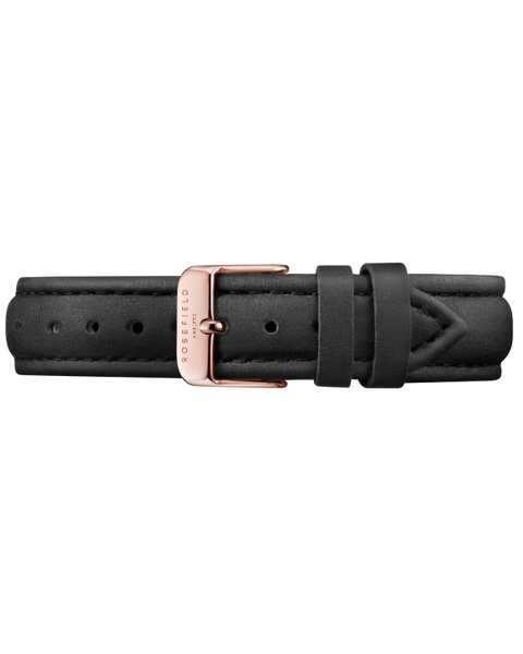 Black Leather Bowery Strap Rose Gold