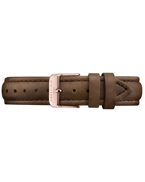 Rosefield-Brown Leather Bowery Strap Rose Gold-Watch Strap-RF-SBRRC-S102-THE UNIT STORE