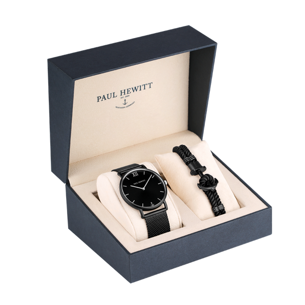 Paul Hewitt-Set Sailor Black Sunray Steel & PHREP IP Black L-Watch-PH-PM-4-L-THE UNIT STORE