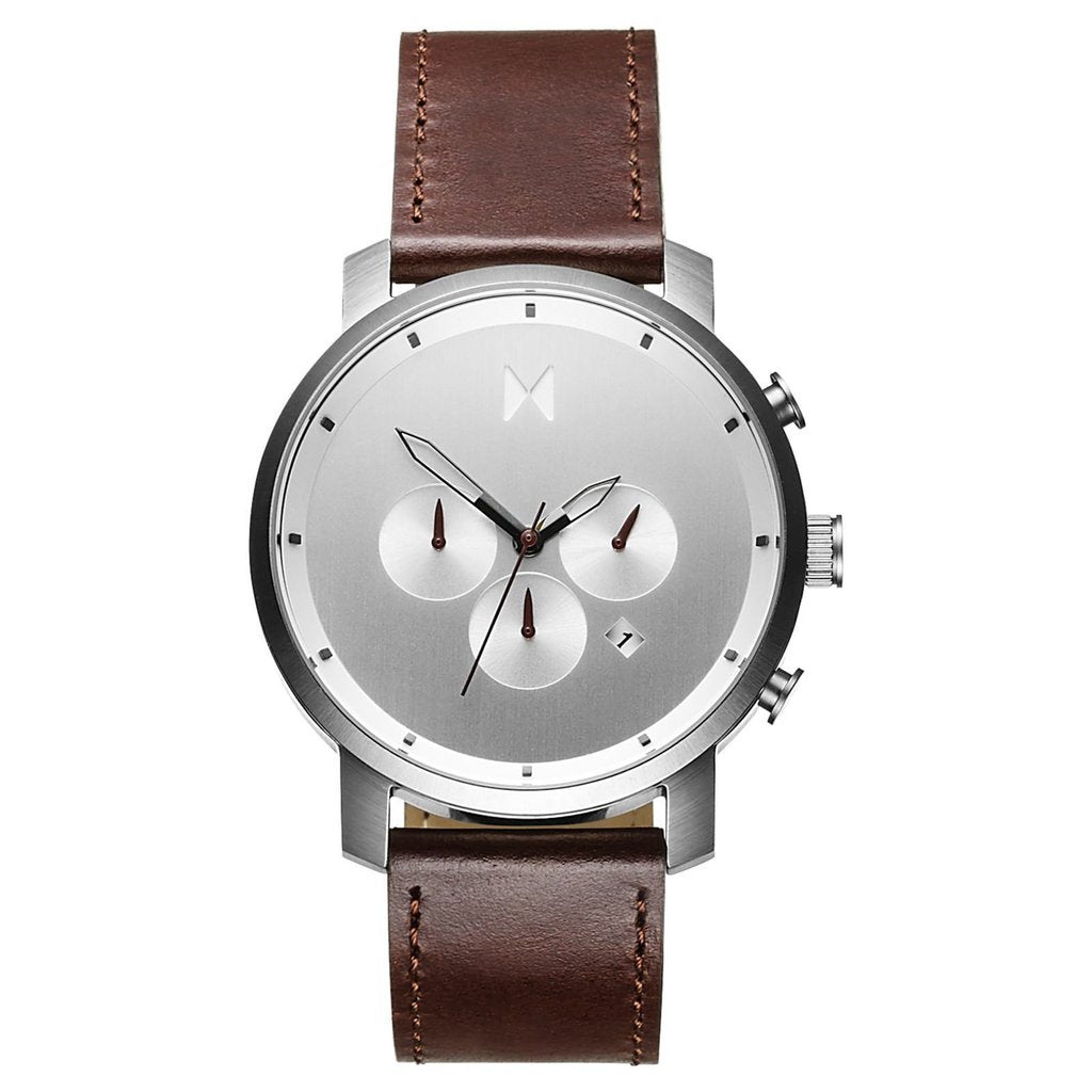 MVMT-Mens Chrono Silver Brown 45 mm-Watch-D-MC01-SBRL-THE UNIT STORE