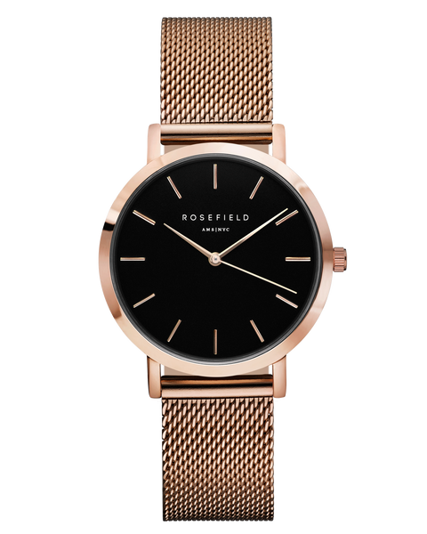 Rosefield-The Tribeca Black Rose Gold-Watch-RF-TBR-T59-THE UNIT STORE