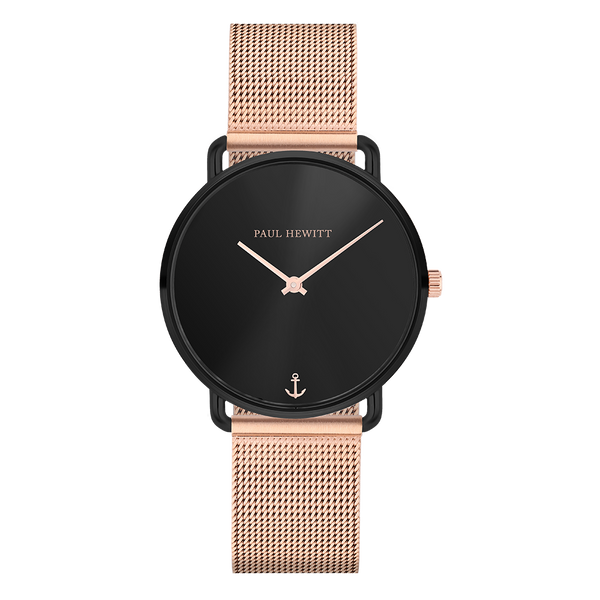 Miss Ocean Line Black Sunray Rose Gold Mesh__Paul Hewitt_Watch_THE UNIT STORE
