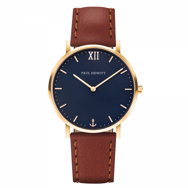 Paul Hewitt-Sailor Line Blue Lagoon Gold Leather Brown-Watch-PH-SA-G-St-B-1S-THE UNIT STORE