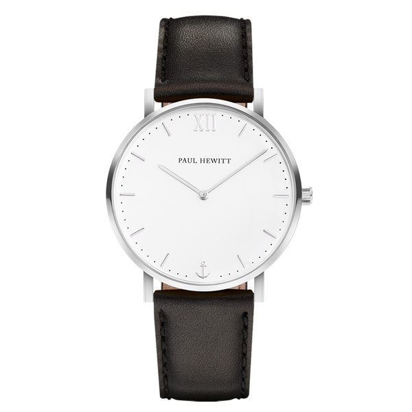 Paul Hewitt-Sailor Line White Sand S.S Leather Black-Watch-PH-SA-S-Sm-W-2S-THE UNIT STORE