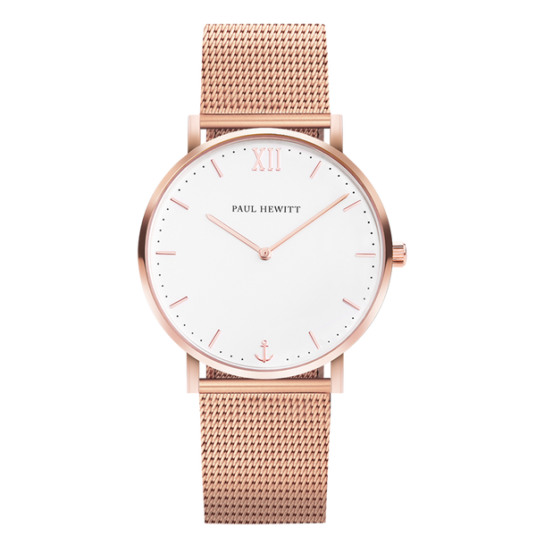 Paul Hewitt-Sailor Line White Sand IP Rose Gold 39mm Mesh-Watch-PH-SA-R-St-W-4S-THE UNIT STORE