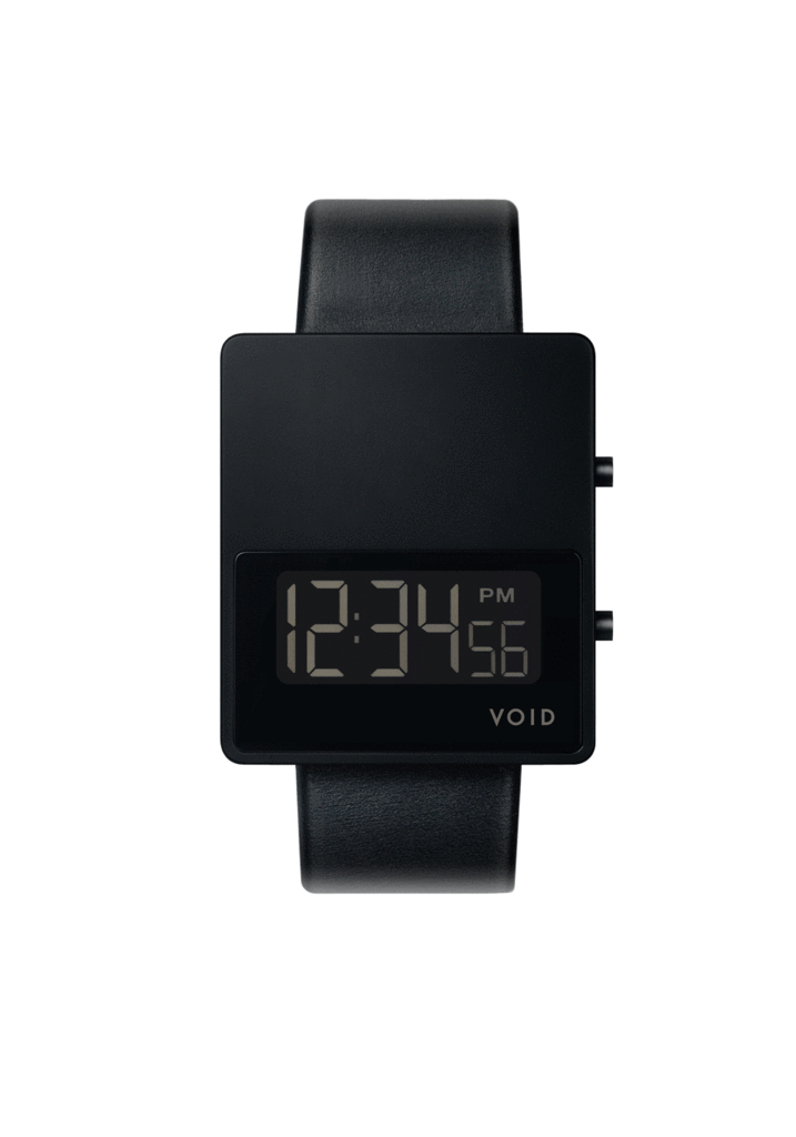 Void-Matte Black LCD Black leather strap Black buckle-Watch-CON V01MKII-BL/BL-THE UNIT STORE