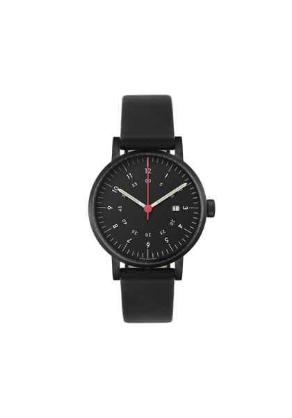 Date Black Black leather strap & Black dial