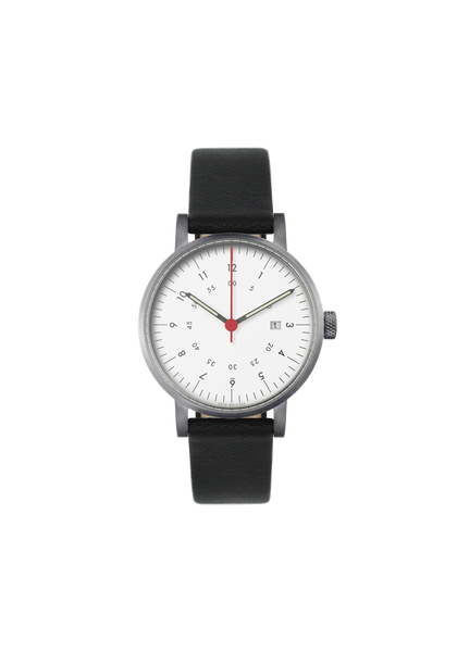 Date Brushed Black leather strap & White dial