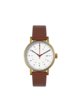 Void Date Gold Light Brown leather strap & White dial V03D GO LB WH