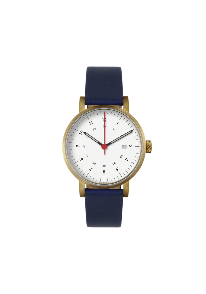 Void Date Gold Royal Blue leather strap & Off White dial V03D GO RB WH