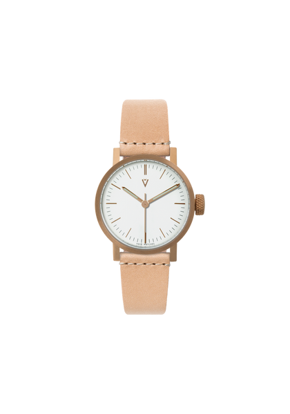 Petite Copper Tan leather strap & White dial