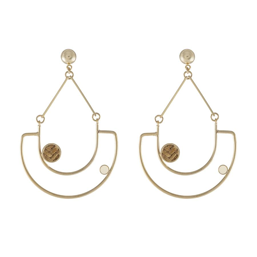 Wanderlust + Co-Lanai Brown & Ivory Gold Earrings-Watch-W-E655G/BN-IV-THE UNIT STORE
