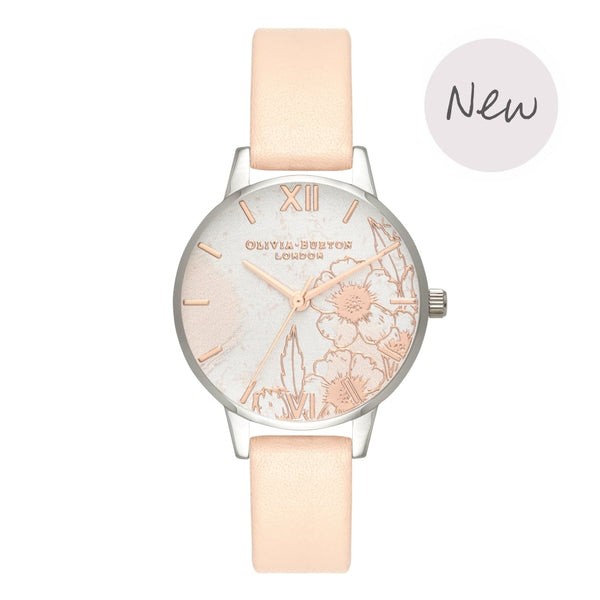 OLIVIA BURTON-Abstract Florals Nude Peach Rose Gold & Silver-Watch-OB16VM27-THE UNIT STORE