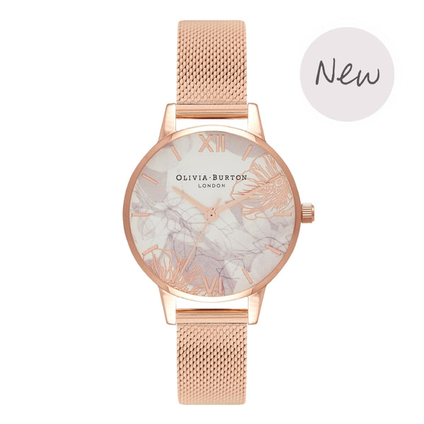 OLIVIA BURTON-Abstract Florals Rose Gold Mesh-Watch-OB16VM11-THE UNIT STORE