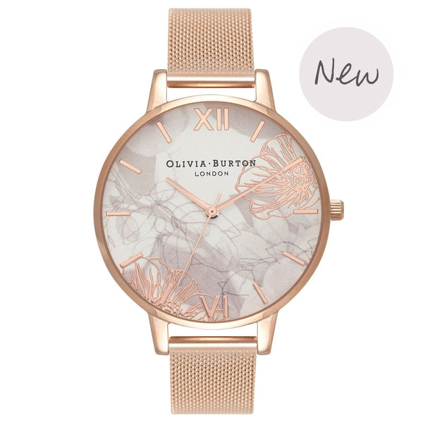 OLIVIA BURTON-Abstract Florals Big Dial Rose Gold Mesh-Watch-OB16VM15-THE UNIT STORE