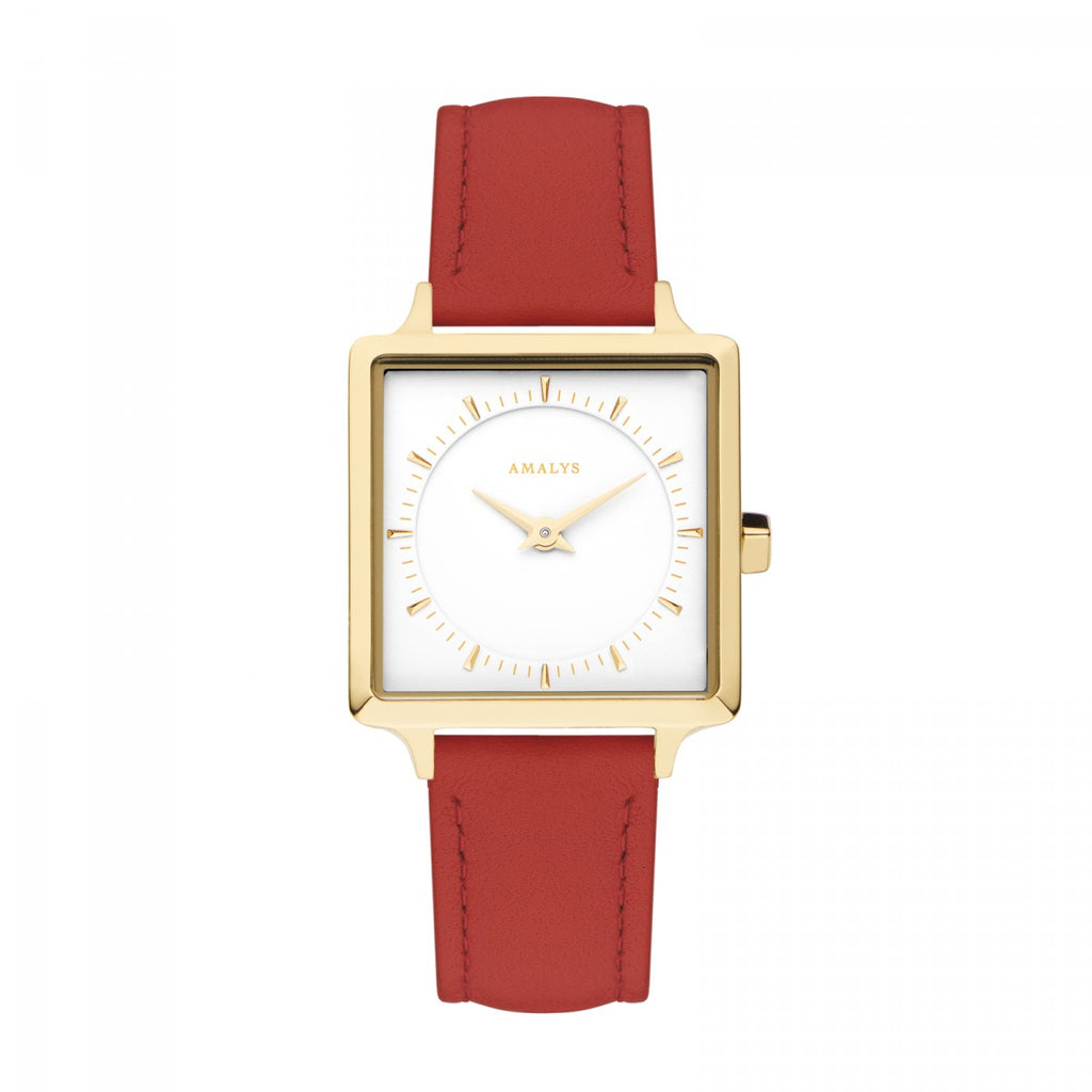 Amalys-Adeline White/Gold/Red Leather/25mm-Watch-AMW-012-THE UNIT STORE