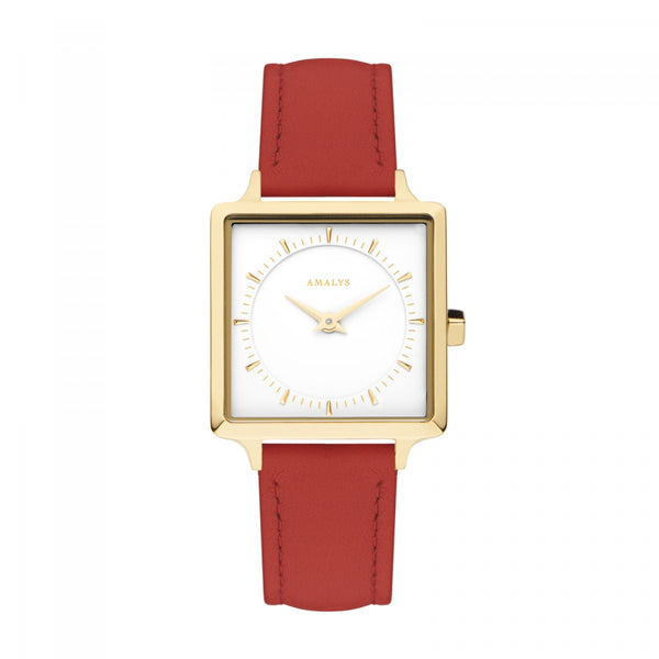 Amalys Adeline White/Gold/Red Leather/25mm AMW-012