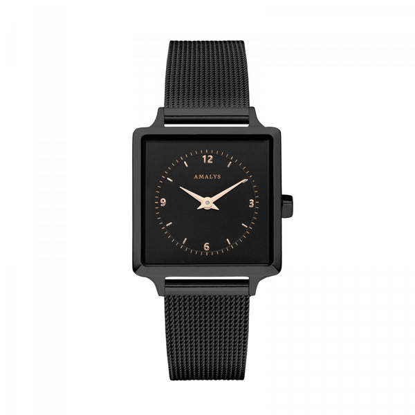 Amalys-Alison Black/Black/Black Mesh/25mm-Watch-AMW-005-THE UNIT STORE