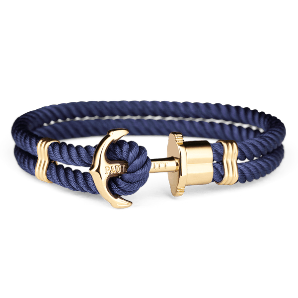 Paul Hewitt-Anchor PHREP Gold Nylon Navy-Jewellery-THE UNIT STORE
