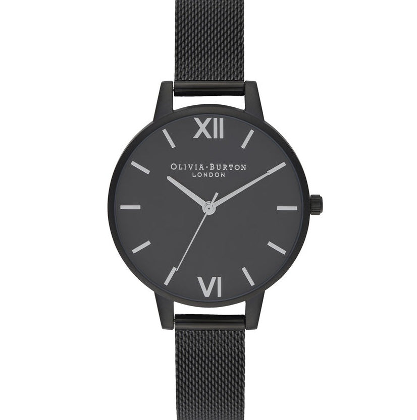 OLIVIA BURTON-After Dark Silver & Matte Black Mesh-Watch-OB16AD51-THE UNIT STORE
