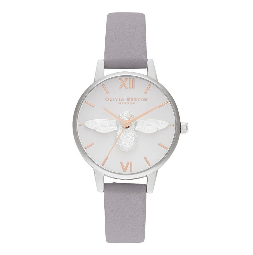 OLIVIA BURTON-3D Bee Midi Dial Grey Lilac RG & Silver-Watch-OB16AM163-THE UNIT STORE