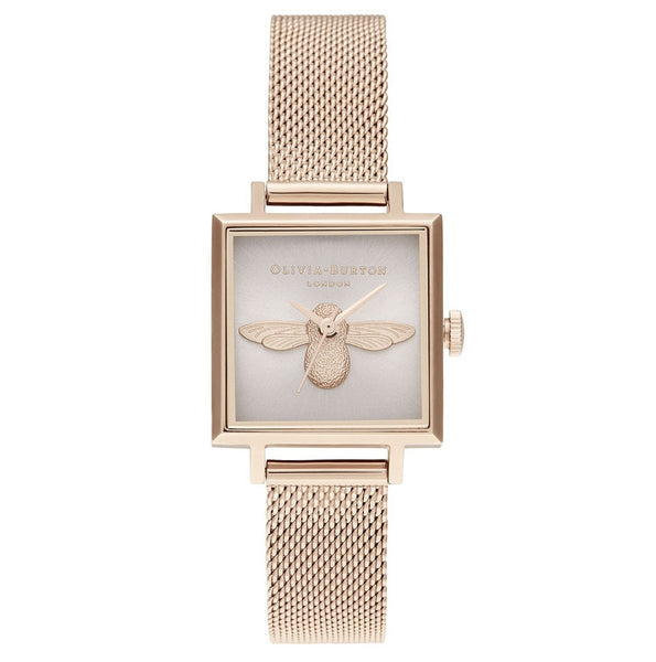 OLIVIA BURTON-3D Bee Square Dial Blush Sunray & Pale RG-Watch-OB16AM164-THE UNIT STORE
