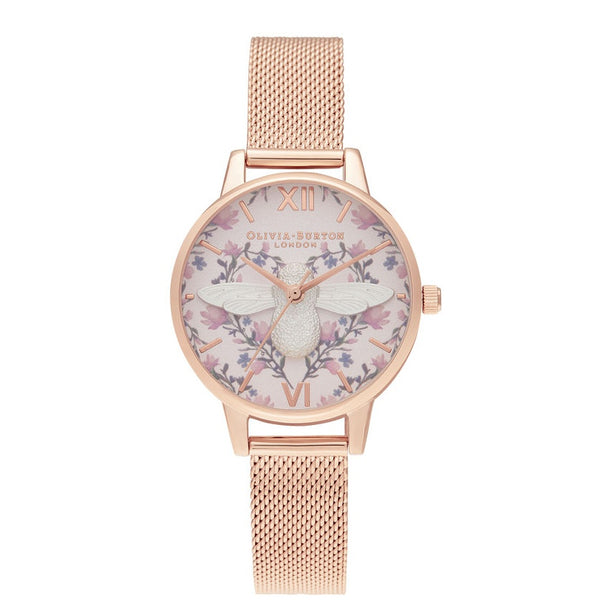 Meant To Bee 3D Bee Blush, Silver & RG Mesh__OLIVIA BURTON_Watch_THE UNIT STORE