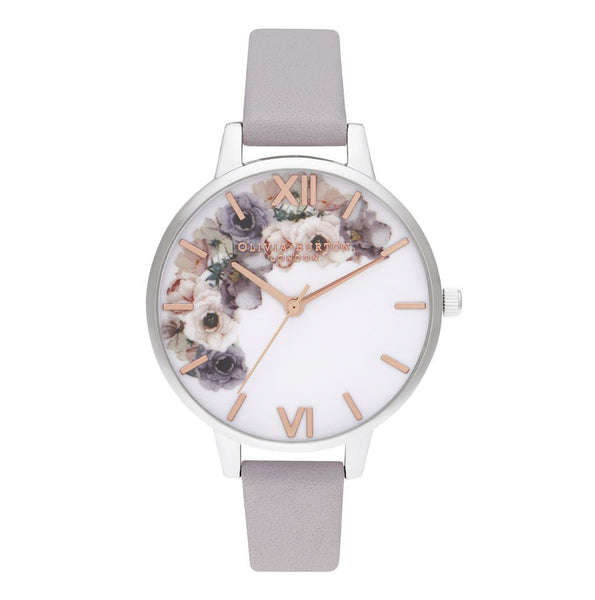 OLIVIA BURTON-Watercolour Florals Demi Grey LilacRG & Silver-Watch-OB16PP56-THE UNIT STORE