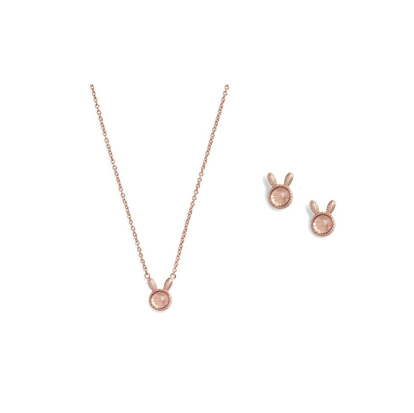 OLIVIA BURTON-Bunny Gift Set RG & Pink Crystal-Jewellery-OBJGSET07-THE UNIT STORE