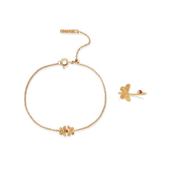 OLIVIA BURTON-Bejewelled Butterfly CNY Gift Set Gold & Red-Jewellery-OBJGSET28-THE UNIT STORE